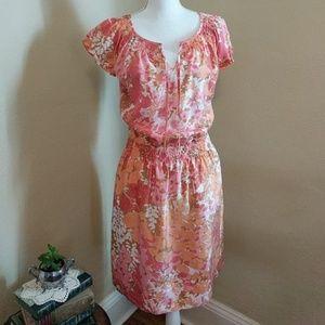 Talbots • 100% Silk Floral Drop Waist Dress